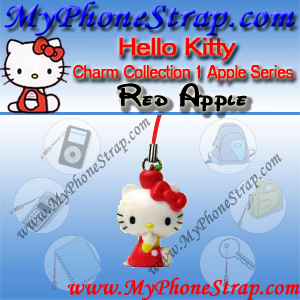 HELLO KITTY RED APPLE BY TOMY ... US APPLE CHARM COLLECTION SERIES 1 DETAIL