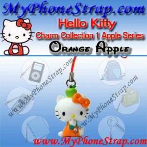 HELLO KITTY ORANGE APPLE BY TOMY ... US APPLE CHARM COLLECTION SERIES 1 DETAIL