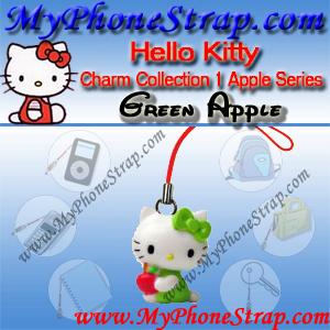 HELLO KITTY GREEN APPLE BY TOMY ... US APPLE CHARM COLLECTION SERIES 1 DETAIL