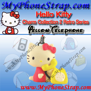 HELLO KITTY YELLOW TELEPHONE BY TOMY ... US FIGURE CHARM COLLECTION 2 RETRO SERIES DETAIL