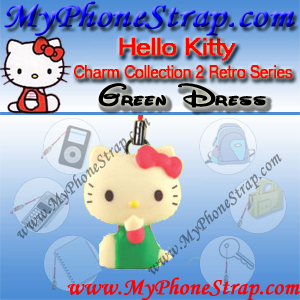 HELLO KITTY GREEN DRESS BY TOMY ... US FIGURE CHARM COLLECTION 2 RETRO SERIES DETAIL