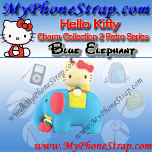 HELLO KITTY BLUE ELEPHANT BY TOMY ... US FIGURE CHARM COLLECTION 2 RETRO SERIES DETAIL