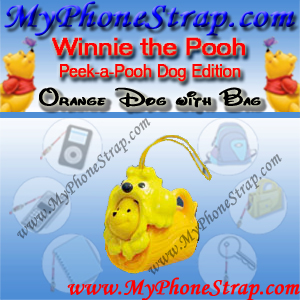 WINNIE THE POOH ORANGE DOG WITH BAG PEEK-A-POOH BY TOMY ... EUROPE MINI WINNIES DOG COLLECTION DETAIL
