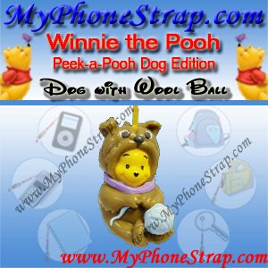 WINNIE THE POOH DOG HOLDING WOOL BALL PEEK-A-POOH BY TOMY ... EUROPE MINI WINNIES DOG COLLECTION DETAIL